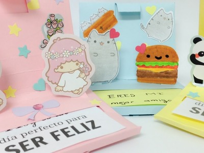 Tarjeta pop up con mensajes para tu mejor amiga,tarjetas creativas kawaii.