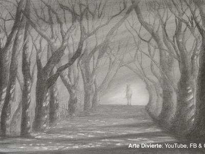 Cómo dibujar un camino con árboles - Sol y sombra a lápiz