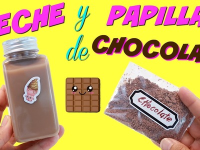 Cómo hacer PAPILLA de CHOCOLATE Y LECHE FALSA de Chocolate para Muñecas • Comida de Juguete