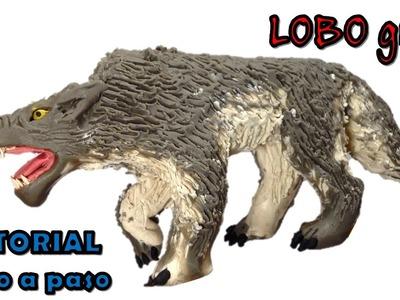 Como hacer un lobo gris con Plastilina. How to make a gray wolf with clay