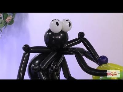Como hacer una Araña para Fiestas de Halloween con Globos- Hogar Tv  por Juan Gonzalo Angel