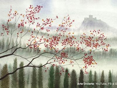 Cómo pintar un paisaje en acuarela - Colinas, árboles y castillo