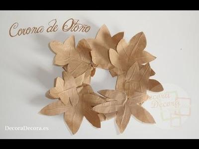 Corona de otoño para decorar.
