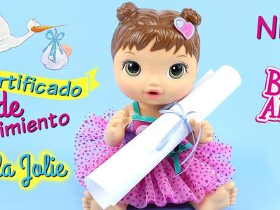 Haz un Certificado de Nacimiento para tu Muñeca Baby Alive con Perla Jolie • Documentos para muñecas