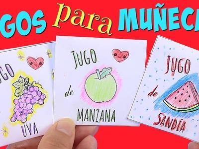 Jugos de Frutas de Juguete en sobres para Muñecas • Comida para muñecas Baby alive