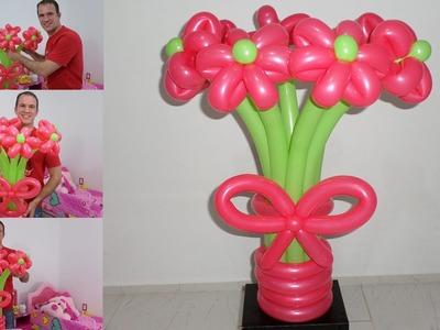 Como hacer un ramo de flores con globos - globoflexia facil - como hacer un florero con globos
