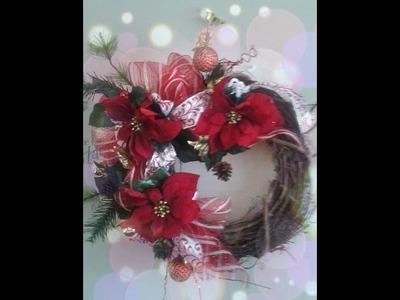 Como hacer Una Corona Navideña con flores y accesorios