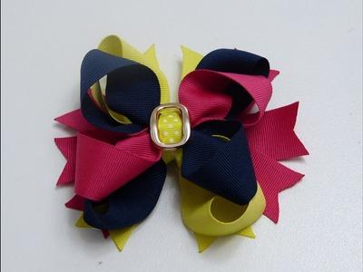 Moño Boutique doble tres colores facil de elaborar, Creaciones Rosa Isela, video 544
