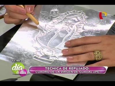 Sepa cómo hacer un cuadro de la virgen de Guadalupe con la técnica del repujado