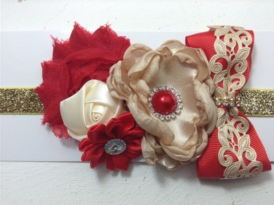 Tiara de flores dorado rojo navidad VIDEO No.  376