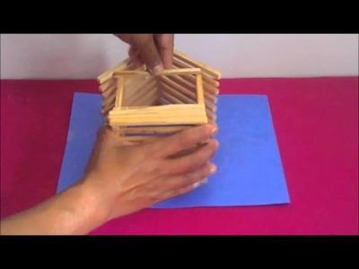 Casita con palitos de madera