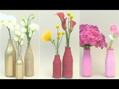 Centros de mesa DIY con botellas de vidrio