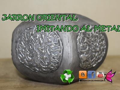 Como hacer jarron oriental con carton imitando al metal