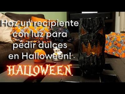 Como hacer un dulcero con luz para pedir dulces en Halloween