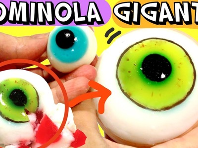 Gominola gigante de ojo relleno de gelatina. Postre asqueroso