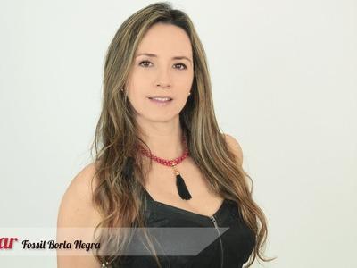 Aprende cómo hacer un Collar fossil rojo borla negra Kit 28161