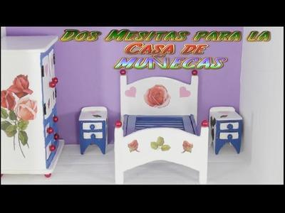 Muebles de Cartón para Casas de Muñecas ( 2 Mesitas de Noche ) una Manualidad, Diy. preciosa