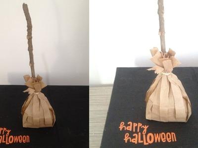 Especial de halloween: escobas con bolsas de papel para regalar dulces