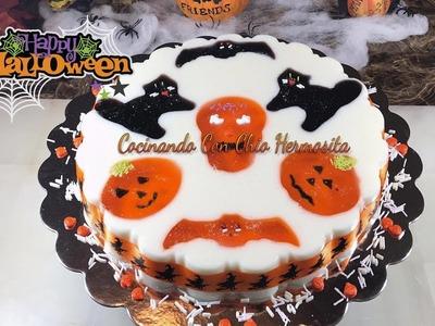 Gelatina de figuras de Halloween de leche sabor coco