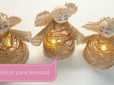 Manualidades para Navidad: ÁNGEL hecho en TELA e HILO de YUTE DIY ♥ Sor Amparo Arredondo R.