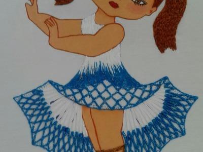 Bordado Fantasia Puntada niña flor de manto