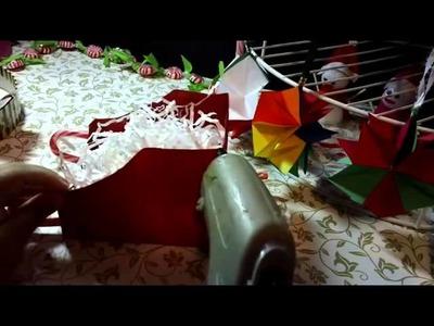 Centró de mesa Trineo de Santa Claus o porta regalos, como hacer paso por paso