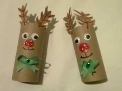 Como hacer Reno navideño con carton reciclado.reindeer