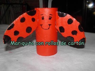 #Manualidades con niños.Mariquita con rollo de papel higienico