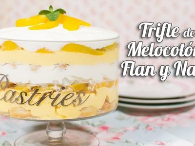 Trifle de Melocotón, flan y nata | Postre sin horno | Quiero Cupcakes!