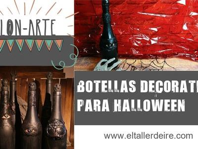 Cómo hacer una botella decorativa para Halloween. Decorative bottle for halloween. Clon-Arte