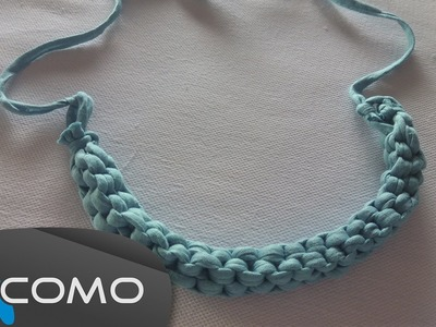 Hacer un collar de trenza cuadrada con trapillo