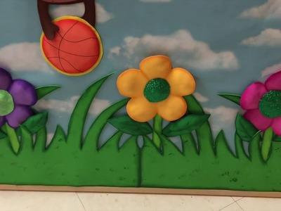 Manualidades con foami o gomaeva.Pasto, hojas y flor