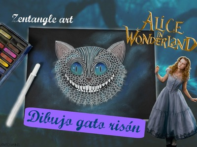 Zentangle art Gato de Alicia en el país de las maravillas - Zentangle art Cheshire Cat Alice in wond