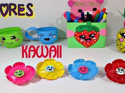 Manualidad Flores Kawaii hechas con botellas de plastico - PRACTIKO