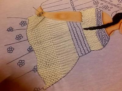 Bordando blusa de mujer indígena 1 de 4