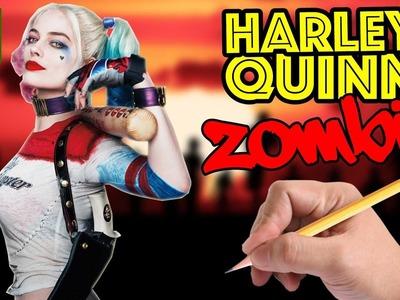 COMO DIBUJAR A HARLEY QUINN ESTILO ZOMBIE - Como sería Harley Quinn si fuera un zombie?