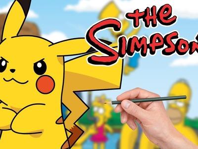 COMO DIBUJAR A PIKACHU ESTILO SIMPSON - como sería Pikachu si viviera en Spriengfield