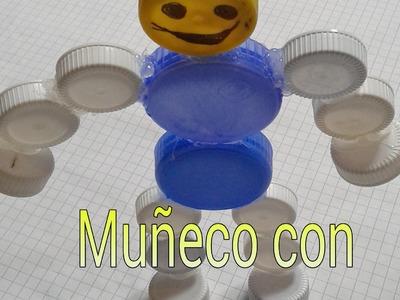 Como hacer un muñeco con tapas 100% reciclado