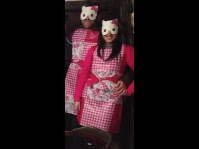 "Como hacer un vestido o disfraz de gato o gata o Hello ""Katty"" facil y rapido con un hule o mantel"