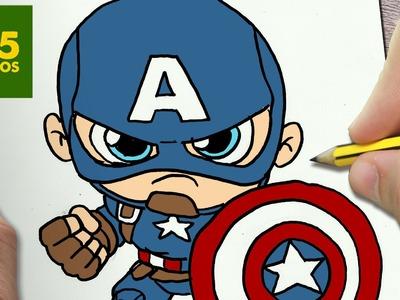 COMO DIBUJAR CAPITAN AMERICA KAWAII PASO A PASO - Dibujos kawaii faciles - draw captain America