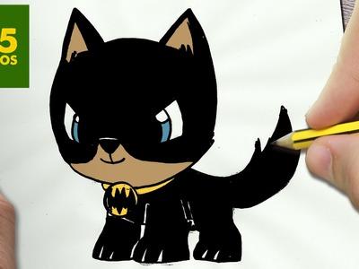 COMO DIBUJAR PERRO BATMAN KAWAII PASO A PASO - Dibujos kawaii faciles - How to draw a BATMAN DOG