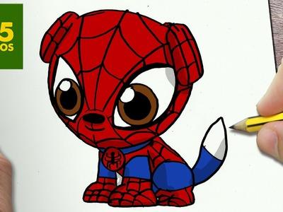 COMO DIBUJAR PERRO SPIDERMAN KAWAII PASO A PASO - Dibujos kawaii faciles - How to draw SPIDERMAN DOG