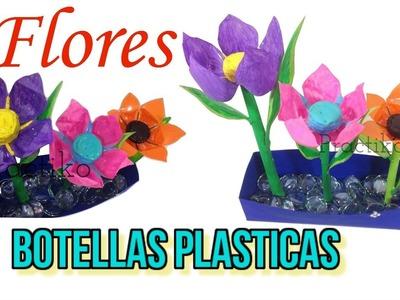 Flor de botella plástica reciclada manualidad fácil con reciclaje muy ♻️ practiko