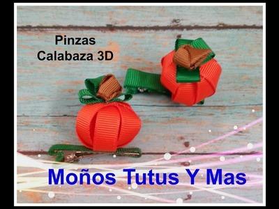 CALABAZA CON LISTON ANGOSTO Paso a Paso 3D PUMPKIN HAIR CLIP Tutorial DIY How To PAP