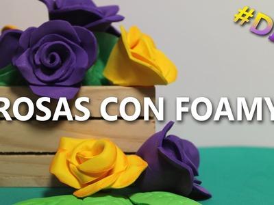 COMO HACER ROSAS DE FOAMI FÁCILES Y BONITAS | Rosas de foami faciles
