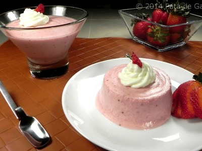 Mousse casero de fresas naturales. Strawberry froth, natural and homemade