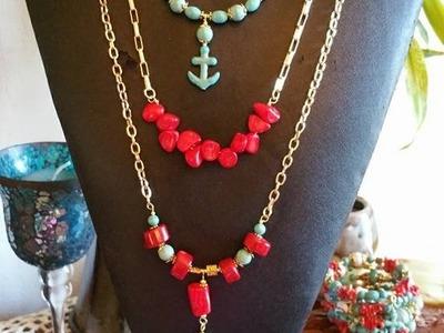 Como Hacer un Collar en Cadenas, Corales y Turquesas