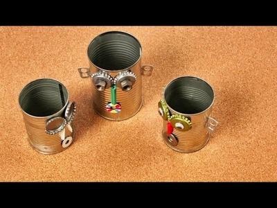 Como hacer un Porta lápices Robot con una Lata - Juguetes para Niños con Materiales Caseros