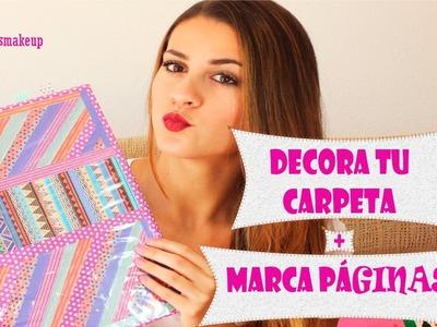 ★VUELTA A CLASE★ | DIY: DECORA TU CARPETA + MARCA PAGINAS | 3rosasmakeup