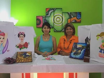 Pintura sobre tela. Franela decorada con diseño de buho